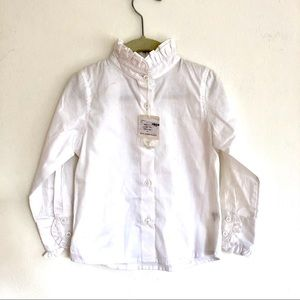 Baby CZ Ruffle Trim Stand Up Collar Button Blouse